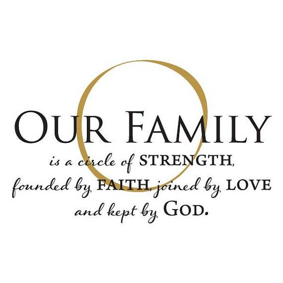 Wall Quote Decal Our Family Is Kept By God Strength Religious Faith