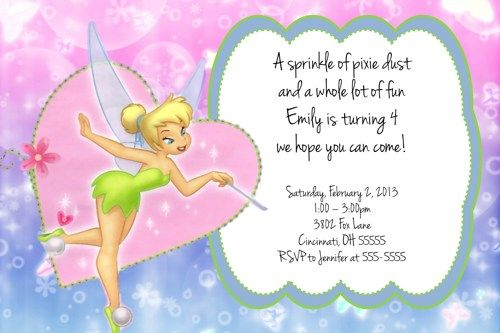 Tinkerbell Custom Designed Birthday Party Invitation