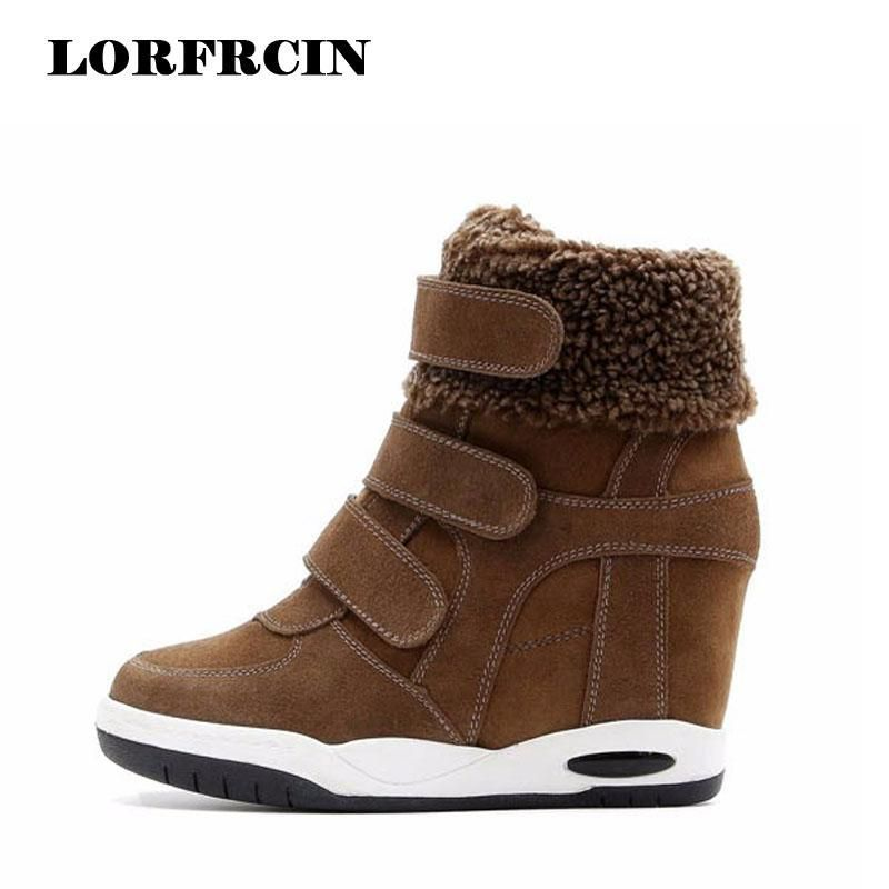 68e79af987eb 2017 New Winter Shoes Cow Suede Shoes Women Hidden Heel Boots Woman Casual  Shoes Wedges bota feminina LORFRCIN