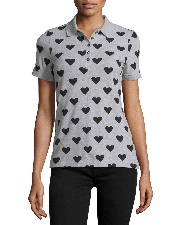Heart Polo Shirt, Pale Gray Melange/Black