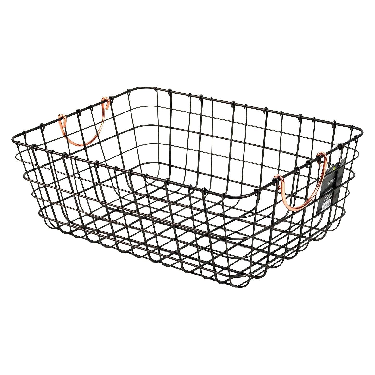 Threshold Antique Pewter Decorative Wire Basket - Black | Antique ...