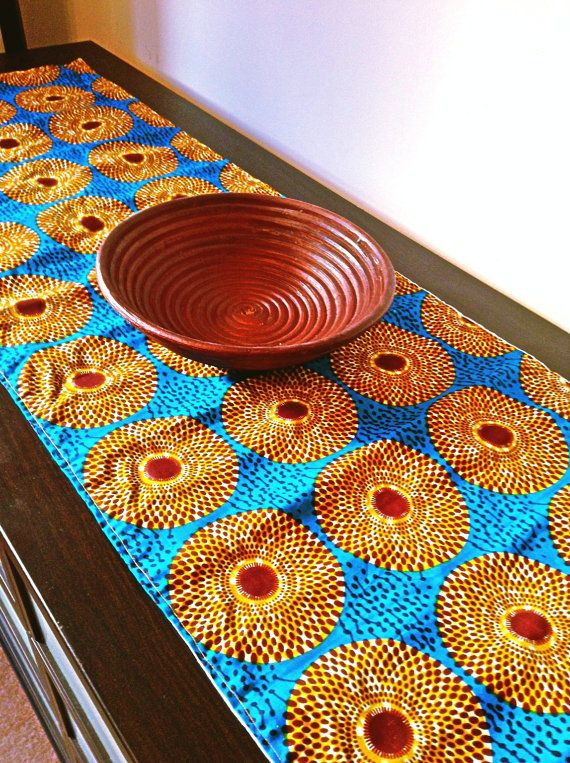 Superbe Royal Blue African Print Table Runner Von BespokeBinny Auf Etsy, £12.00