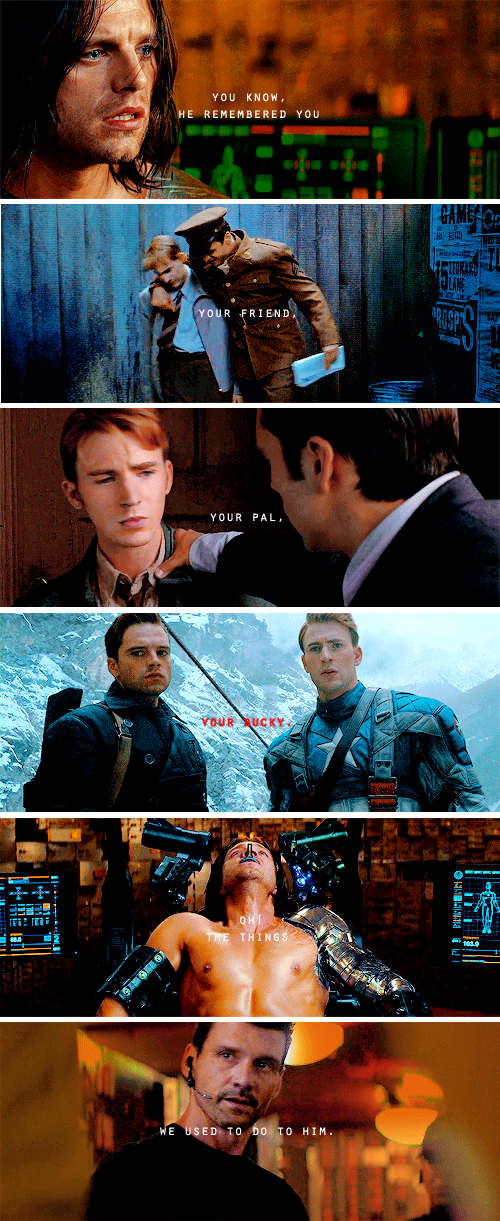 Apparently my heart was made to be stabbed by the glorious feels. Steve and Bucky need to be okay at the end of Cap 3, or me and all of the other members of the fandom will riot.