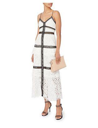 Self-Portrait Black Trim White Lace Maxi Dress