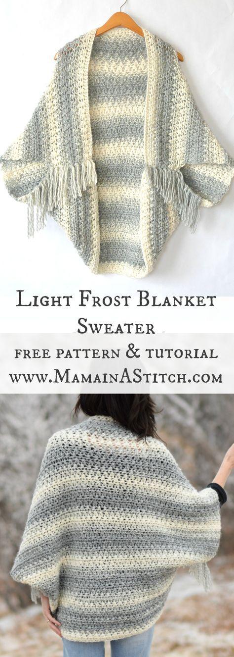 Light Frost Easy Blanket Sweater Crochet Pattern via Mama In A ...