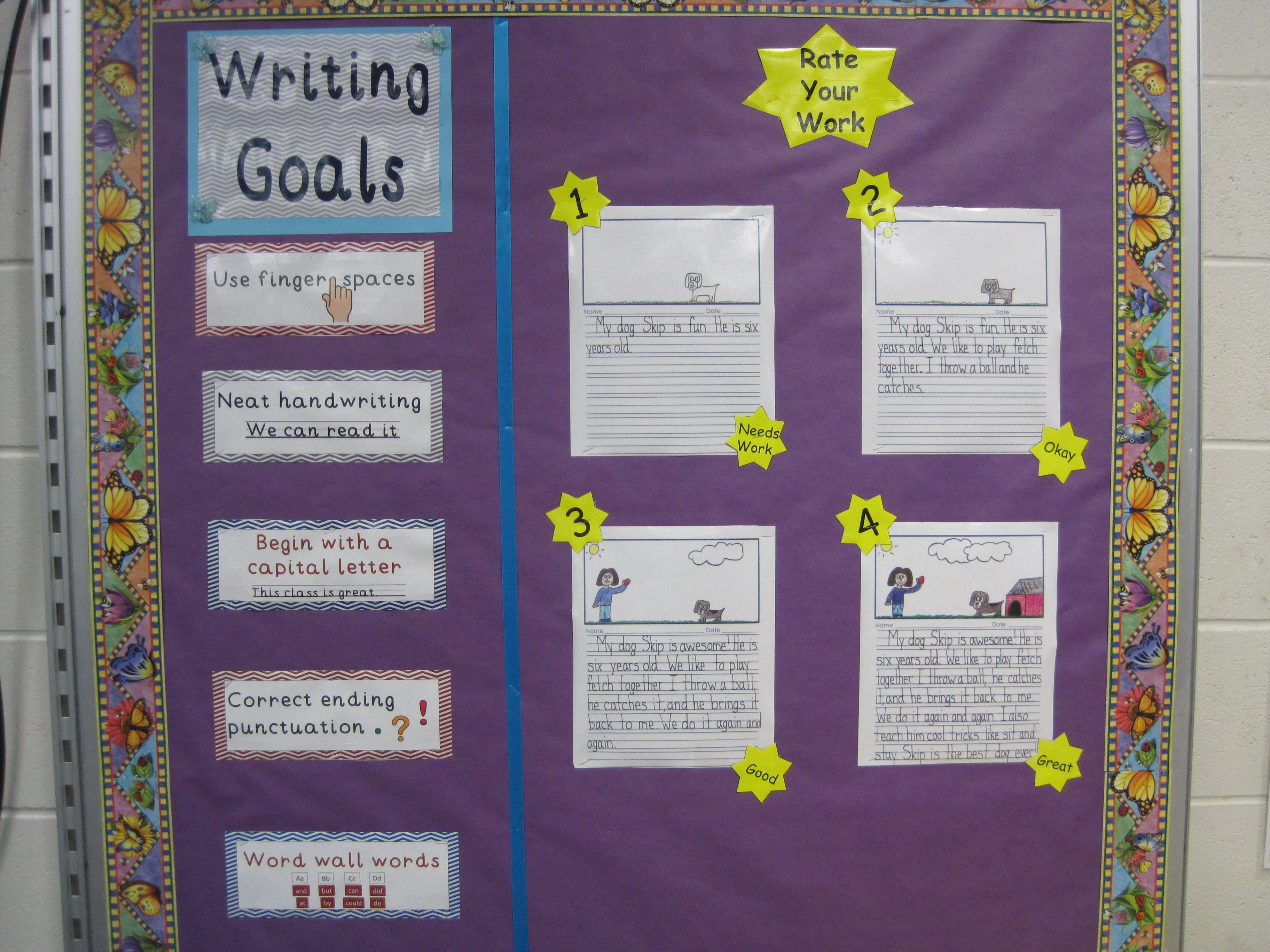 My Writing Bulletin Board Has Both Writing Goals And Rate