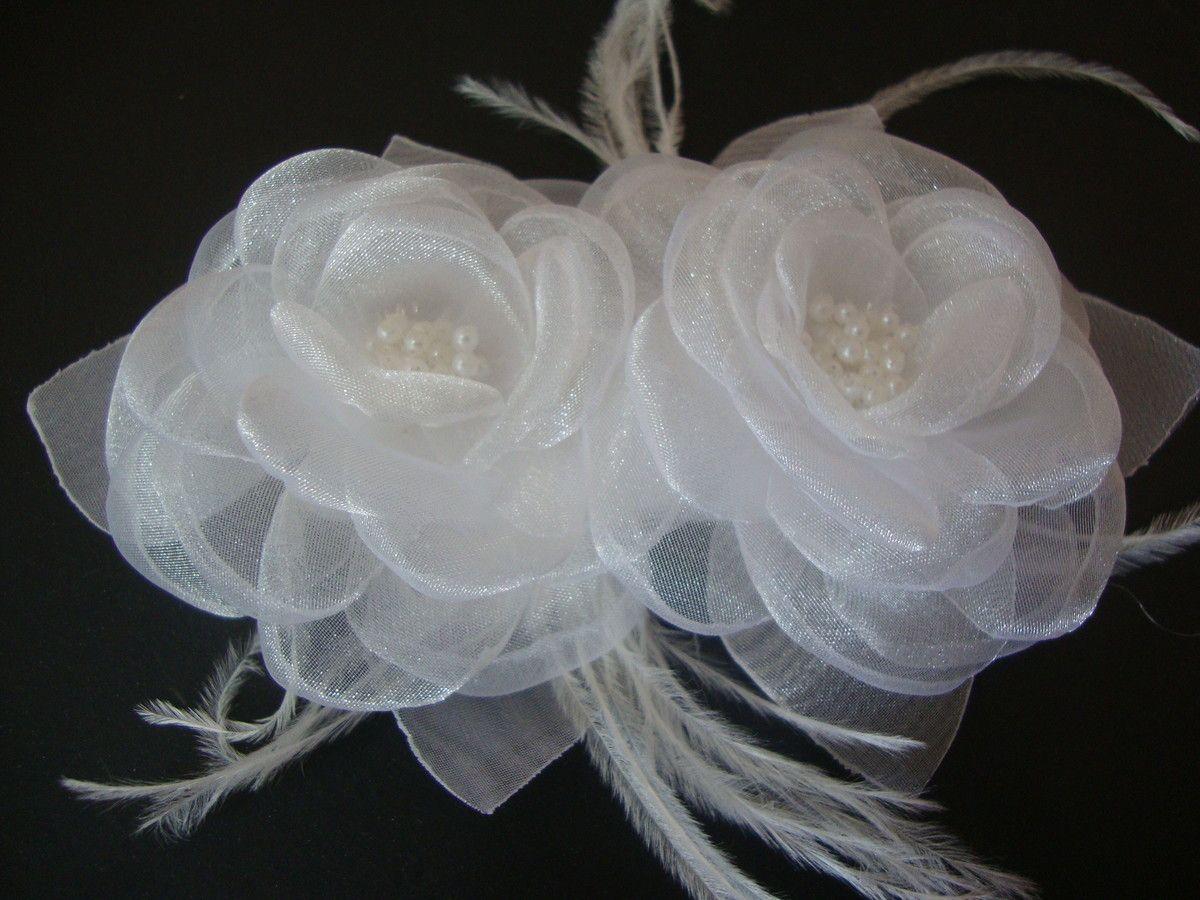 Arranjo Organza 2 Flores Brancas C Perol Com Imagens Penteado