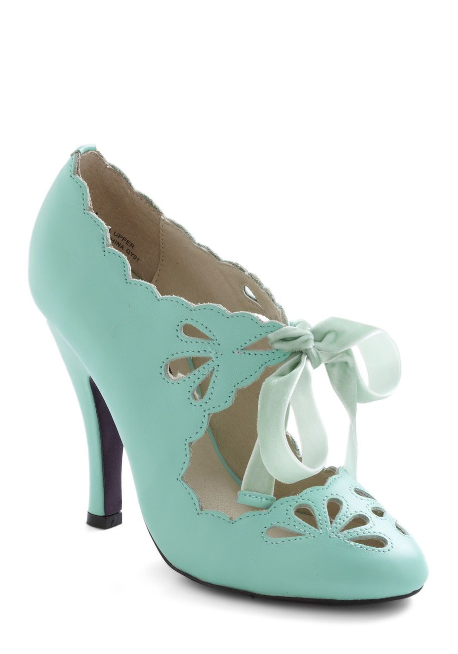 Dainty Dramatist Heel in Mint - Green, Solid, Cutout, Scallops, High, Leather, Wedding, Party, Vintage Inspired
