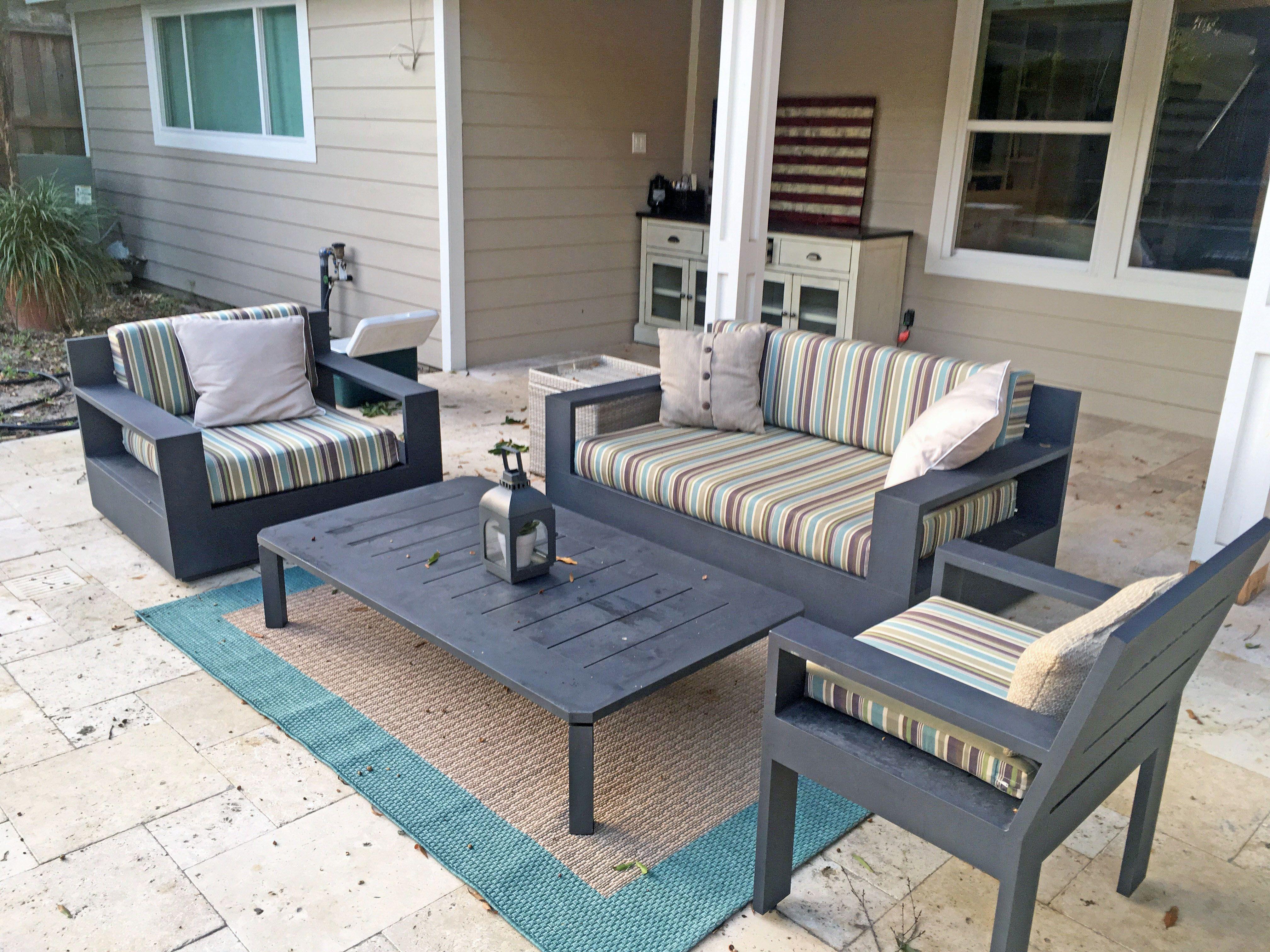Sunbrella Brannon Whisper Striped Patio Cushions Outdoor