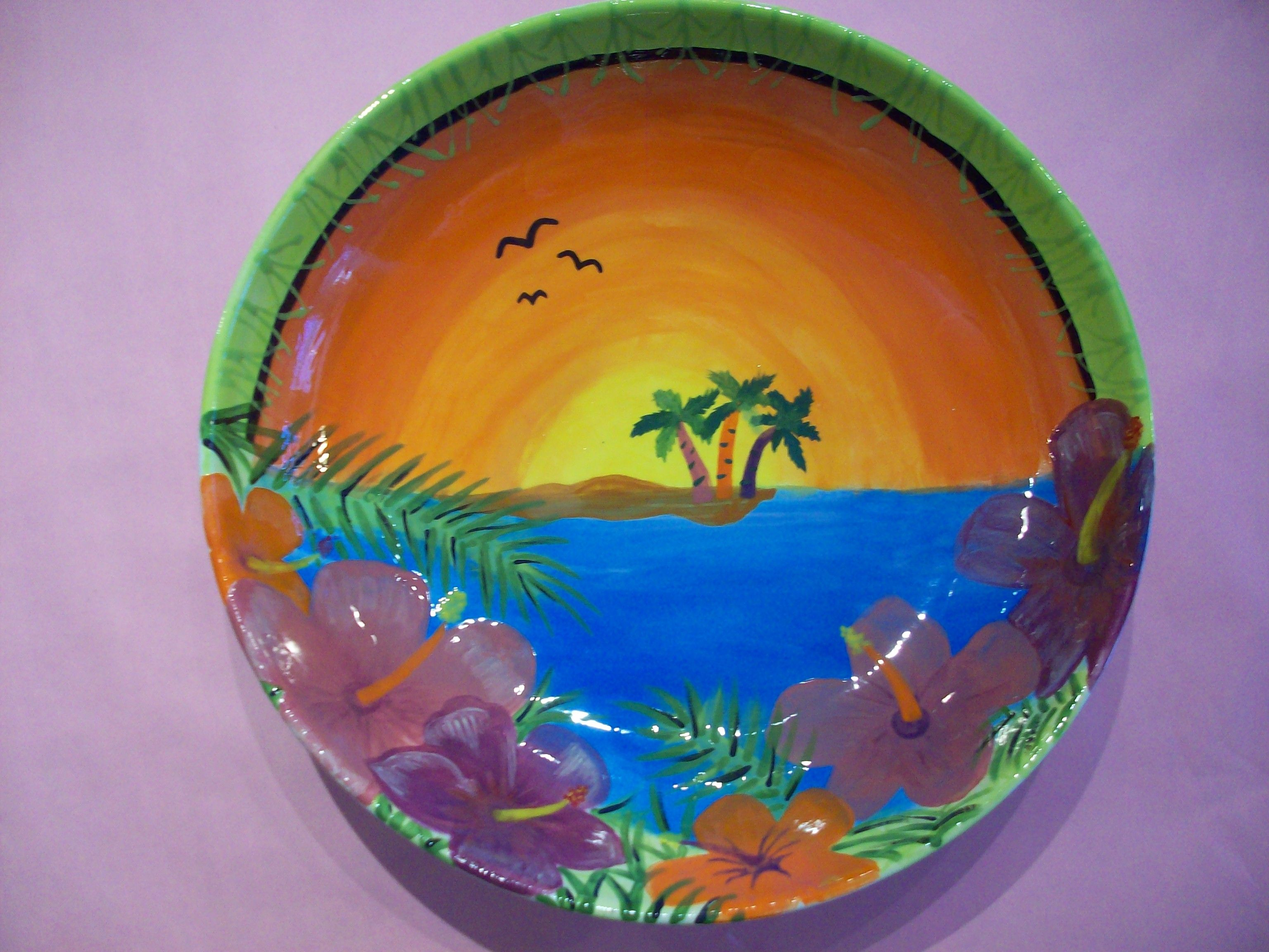 Tropical Sunset Painted Plate / Paint Your Own Pottery / Kiln Creations Noblesville Indiana & Tropical Sunset Painted Plate / Paint Your Own Pottery / Kiln ...