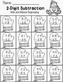 2-digit subtraction--winter theme-FREE math for second grade | Math ...