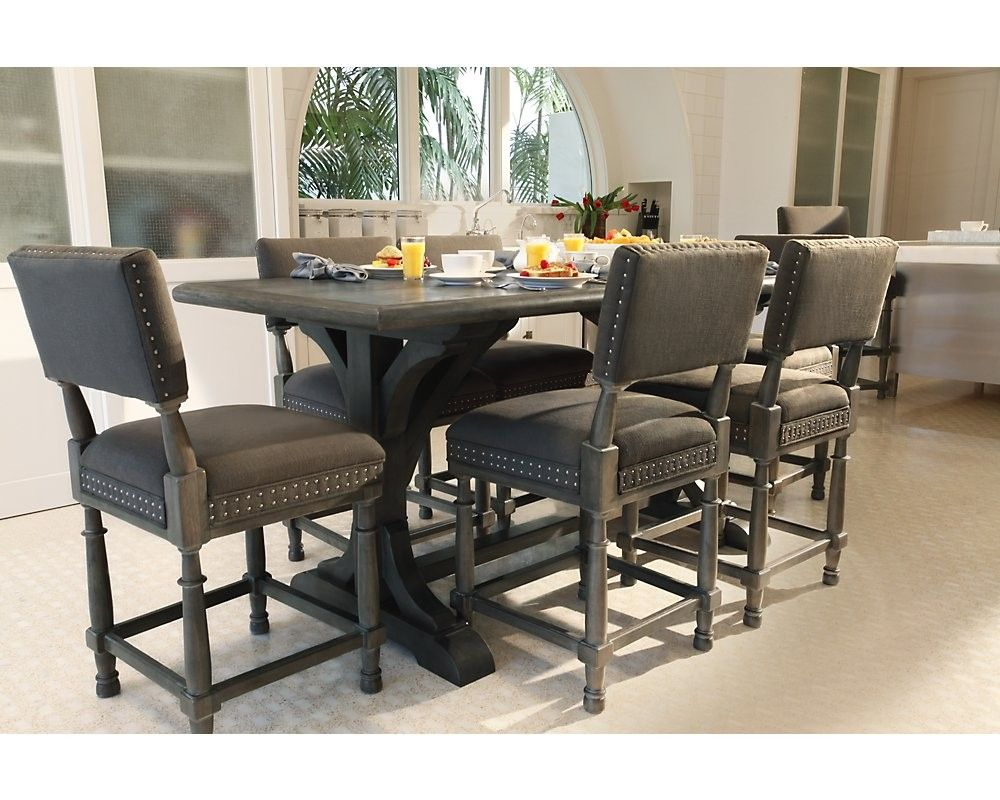 Bernhardt Dining Chairs 7pc Belgian Oak Gathering Table And Counter Stool Set2 2