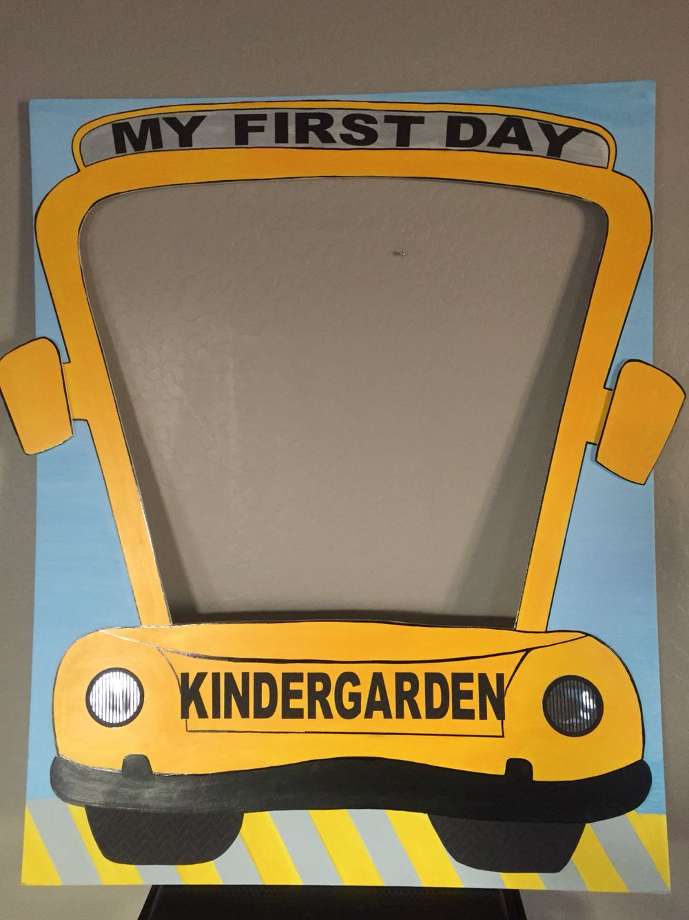 School Bus Party Frame My First Day In Kindergarten Follow Us In