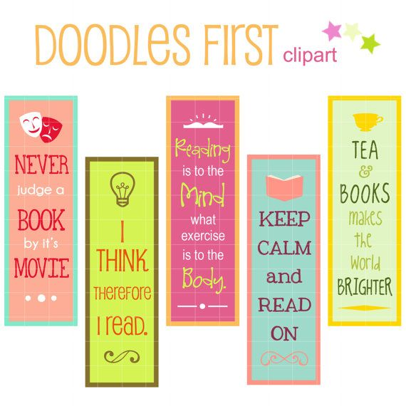 Reading Quotes Bookmarks Digital Clip Art for Scrapbooking Card ...