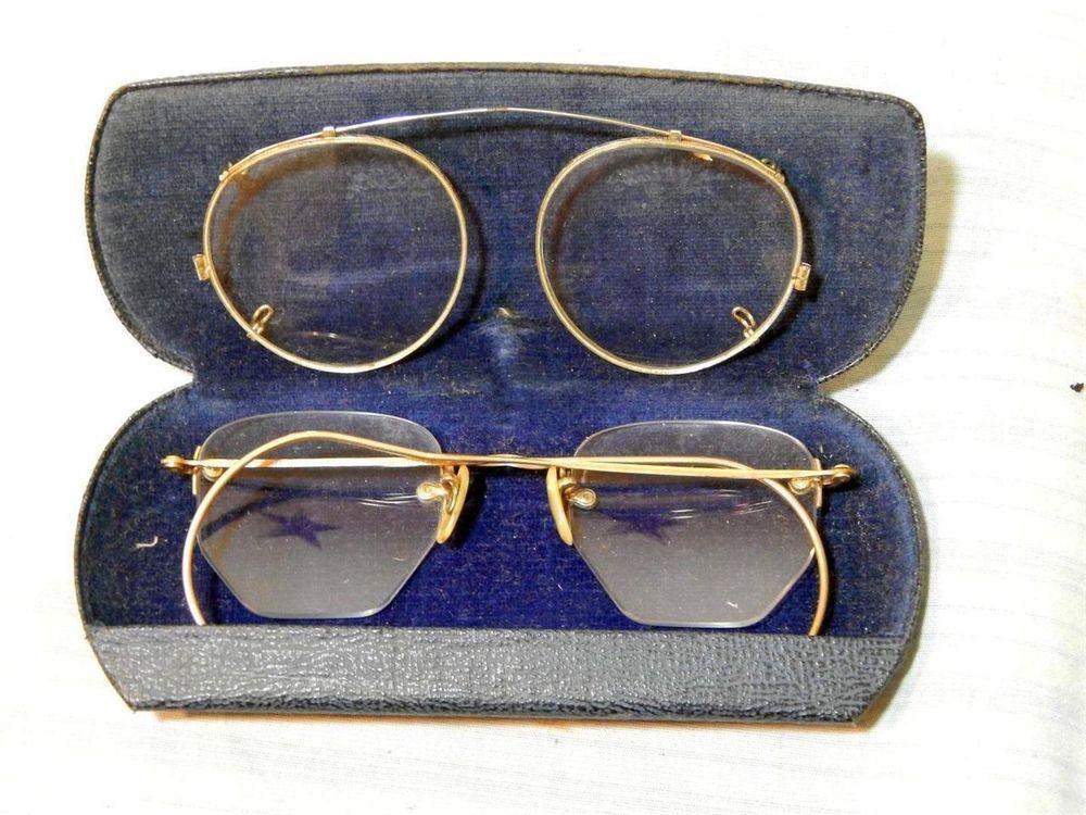 2386e2e8d95 Vintage Nocro 10k GF Square Cut Eyeglasses W Case   Clip On Wire Rimmed  Glasses