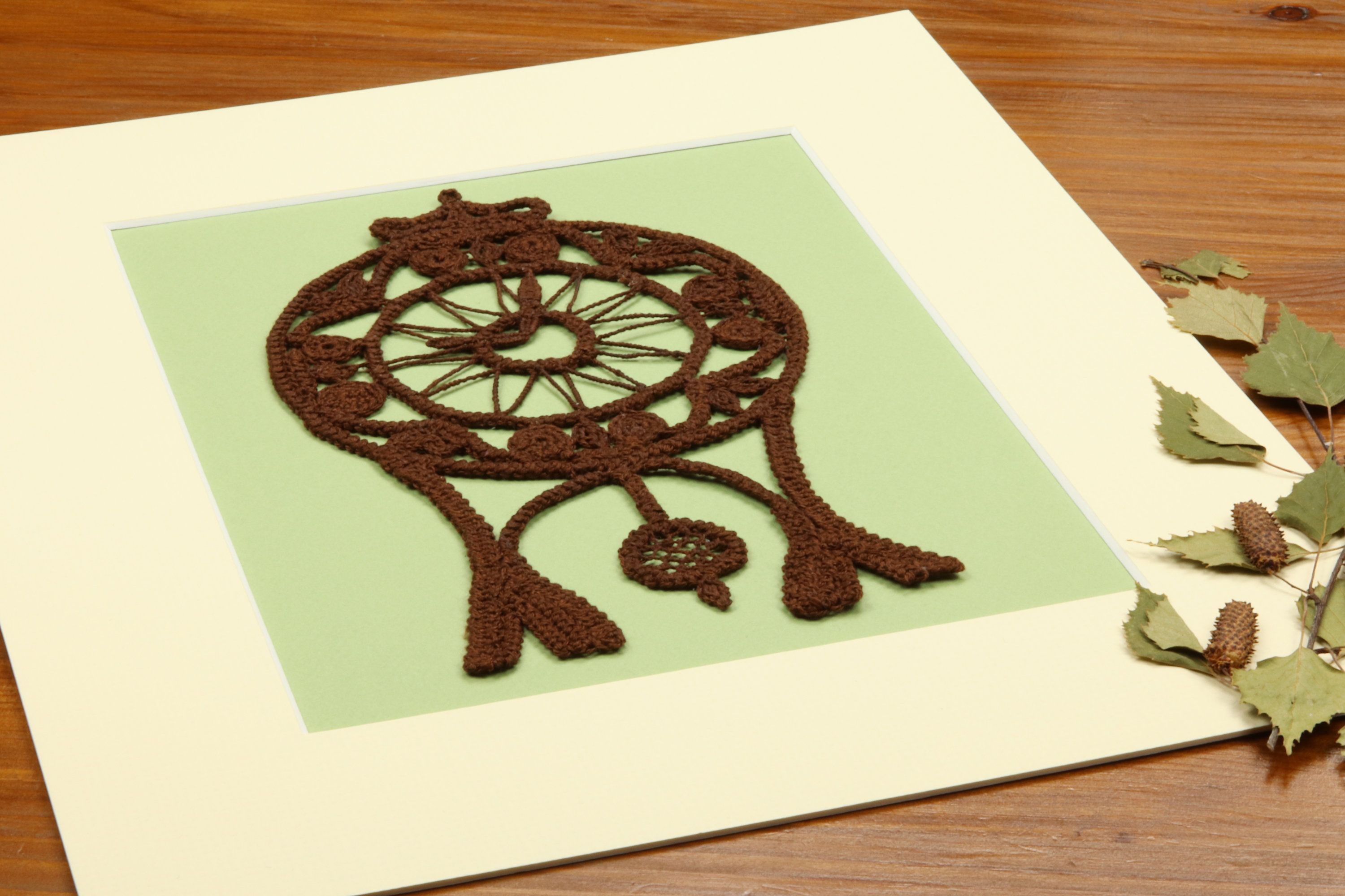Clock wall art, Romanian Lace, Point lace, Lace home decor, Brown ...
