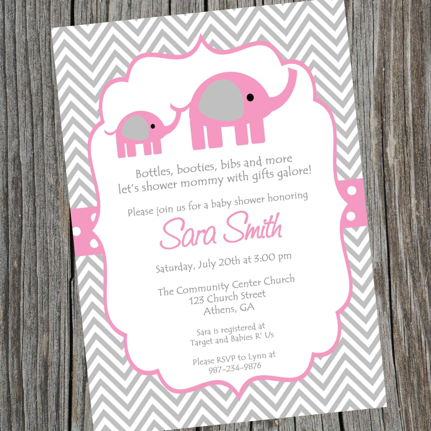 pink elephant baby shower invitation printable baby baby