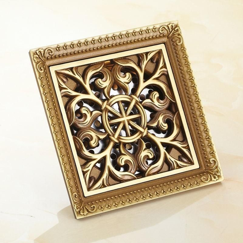 Photo of Elegant Antique Brass Bathroom Shower Floor Grate Drain