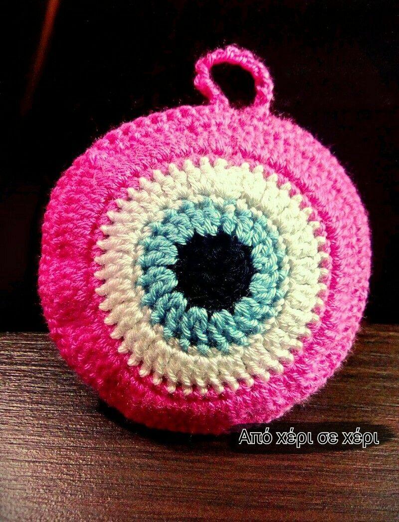 crochet #eye #pillow #πλεκτο #ματι #μαξιλαρακι   Crochet jewelry ...