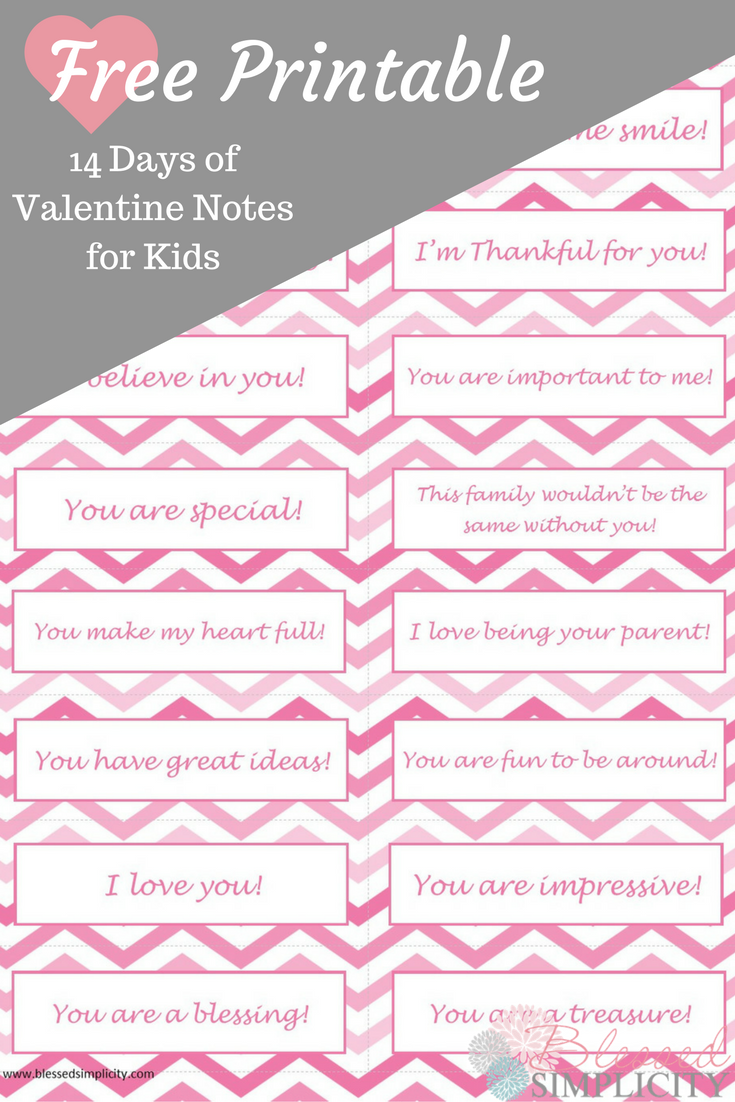 14 Days Of Valentine Notes For Kids Free Printable Valentines Printables Free Valentine Notes Valentines Printables