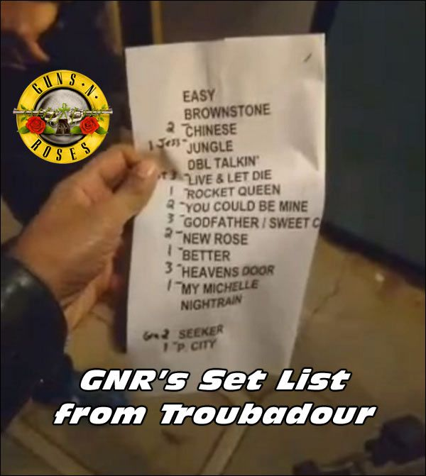 guns n roses it s so easy live april 1 2016 at troubadour watch it here now concert. Black Bedroom Furniture Sets. Home Design Ideas