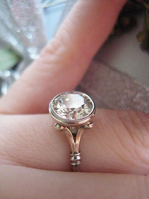 James Meyer bezel engagement ring. This is so beautiful and unique!