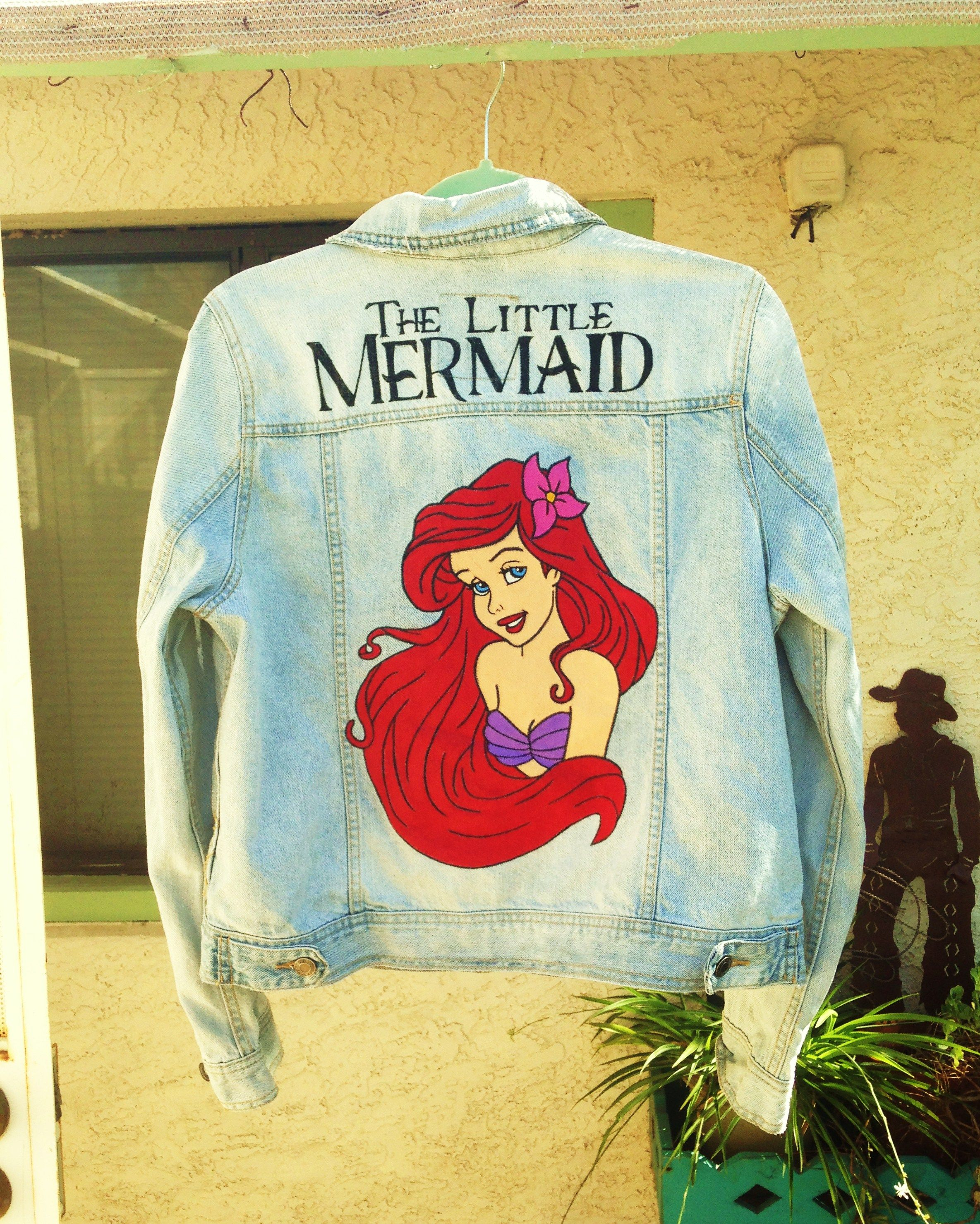 5f0525fd0 Ariel from The Little Mermaid custom painted on denim jacket by ...