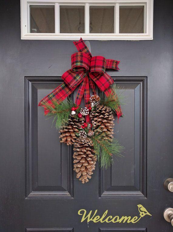 0f3c3404bbd114aa46f1151226b25acf door swag door wreath for Pine cone door decoration