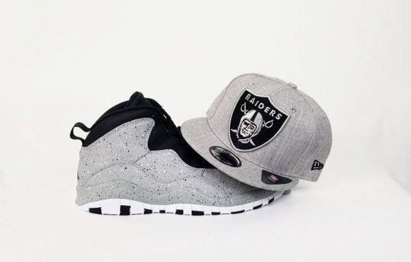 5978e272fc6 Matching New Era Oakland Raiders 9Fifty Snapback hat for Air Jordan 10  Cement