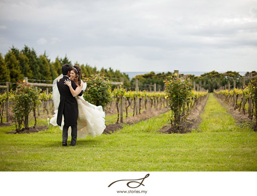 The Bride and Groom - having fun in the Vineyard Location: Morning Star Estate  Photo: Stories by Integrity stories.my/