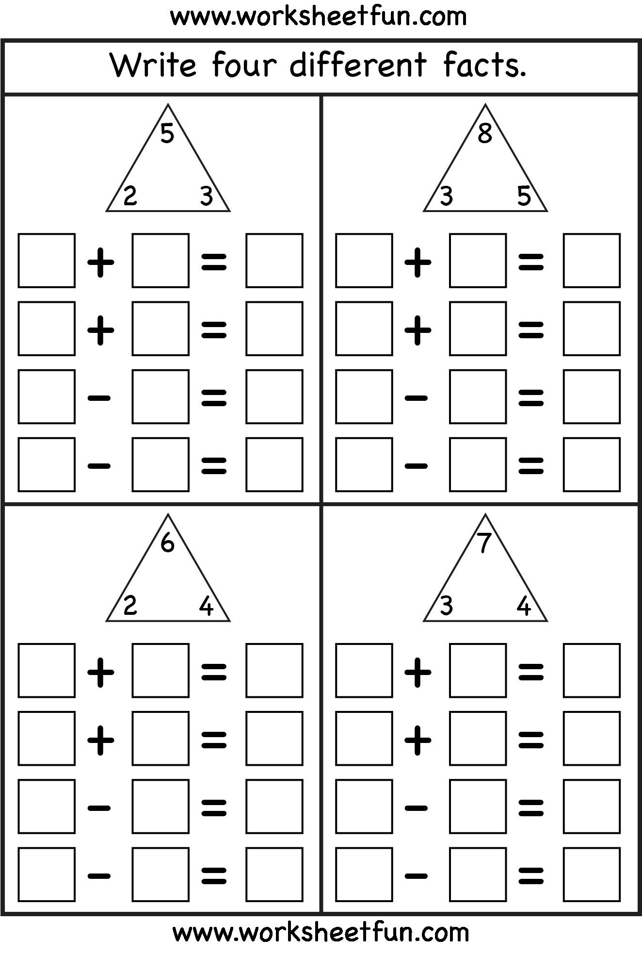 5 Fact Triangle Worksheets Print In