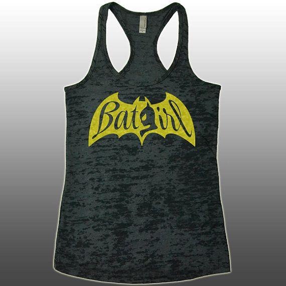 BatGirl BatWoman Batman Tank Top - Racerback Burnout Tank Top. Funny Womens  Workout Tank Tops