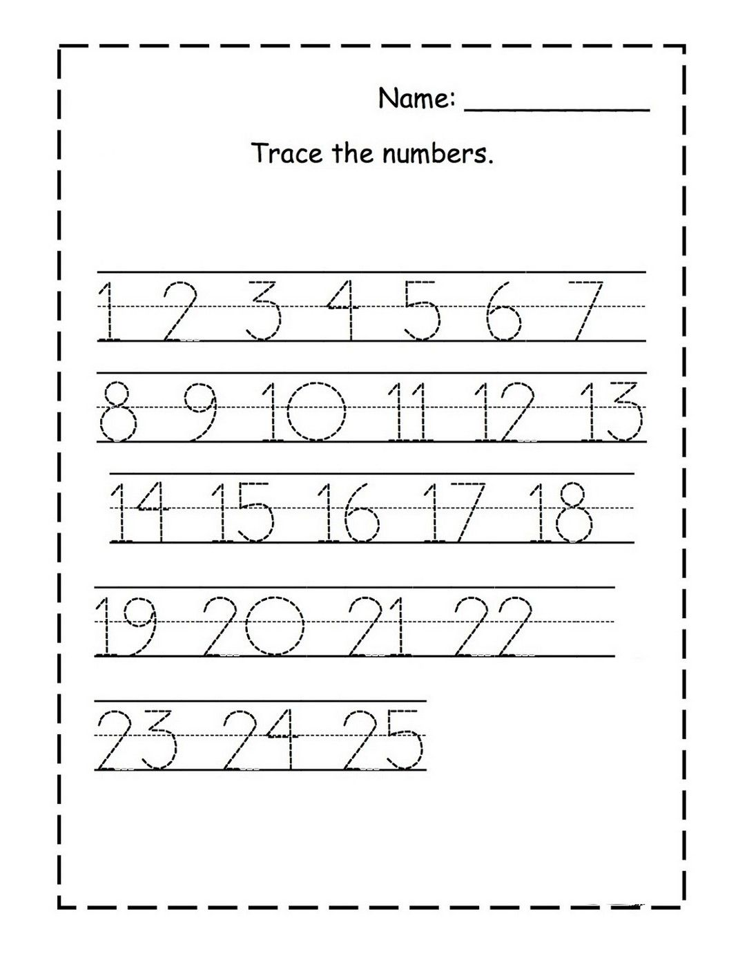 Workbooks trace numbers worksheets : tracing numbers 1-25 for kg page | Kids Worksheets Printable ...