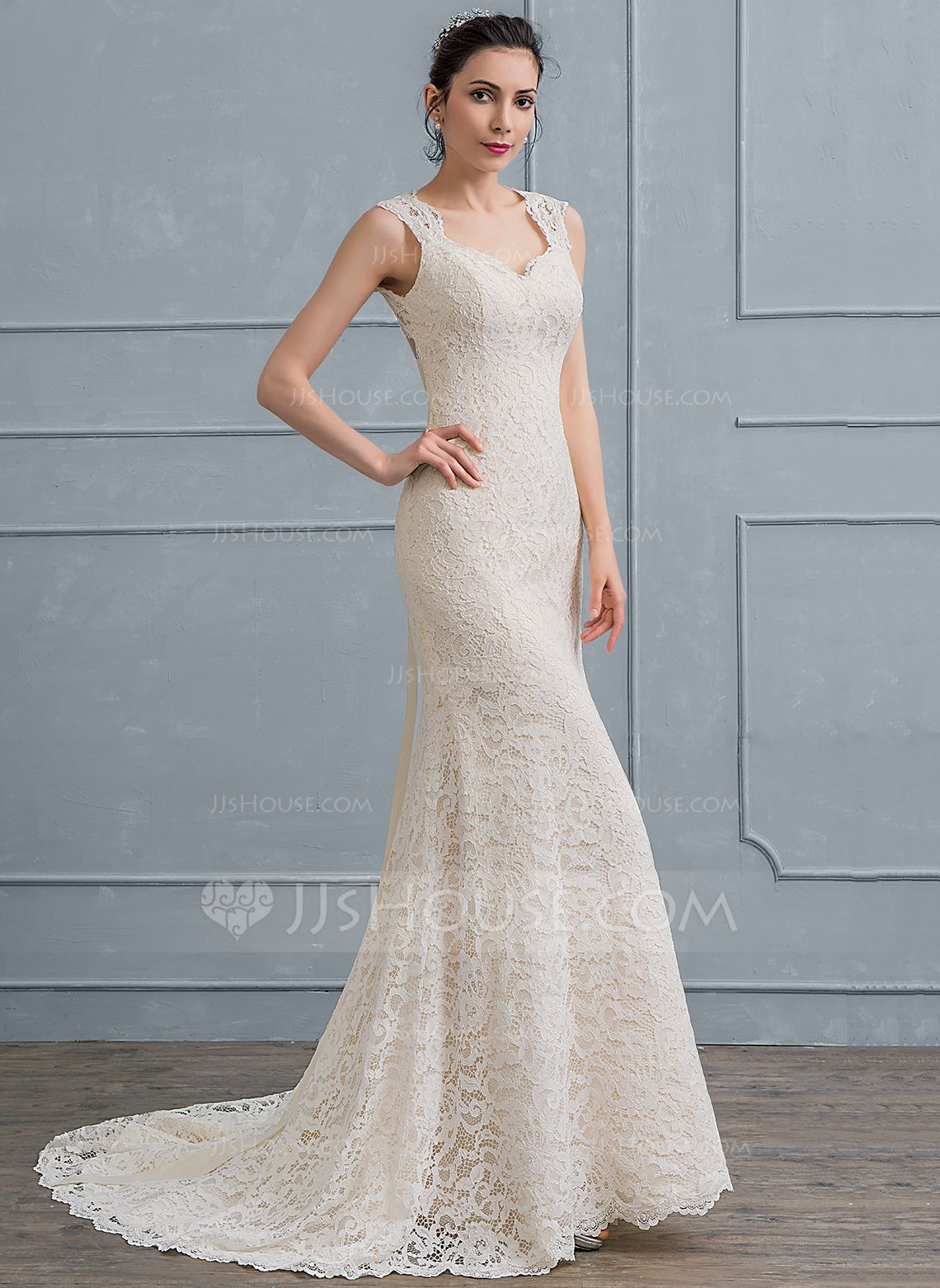 Sheathcolumn sweetheart court train lace wedding dress with bows