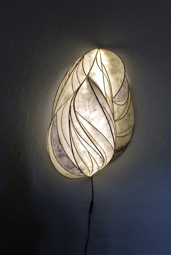 papier mache lamp illuminated sculpture wall hanging