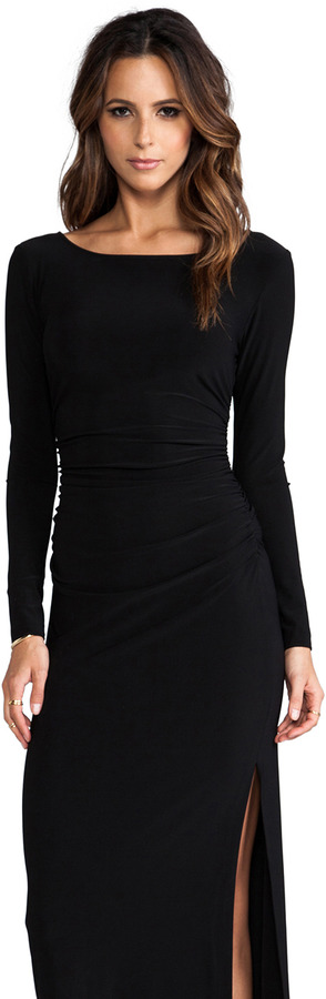 Norma Kamali Long Sleeve Shirred Waist Maxi Gown | #Chic Only #Glamour Always