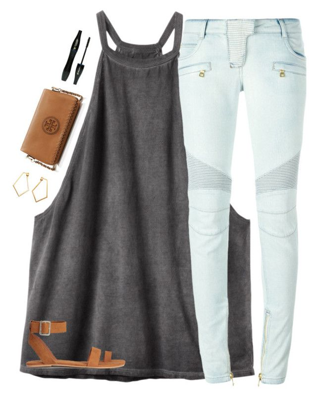"""Let's get rich and build house on a mountain making everyone look like ants"" by classyandsassyabby ❤ liked on Polyvore featuring RVCA, Balmain, Lancôme, Tory Burch, Dutch Basics, gold, ToryBurch, HM and rvca"