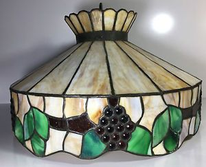 Antique Stained Leaded Glass Fruit Pattern Hanging Lamp Shade