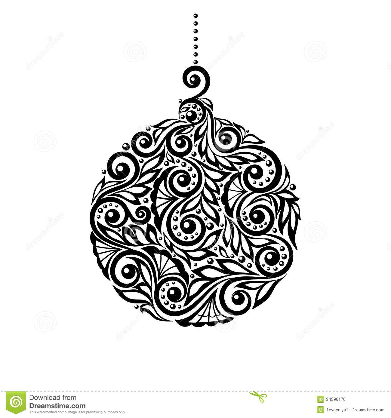 Black And White Christmas Ball With A Floral Desig  Download From