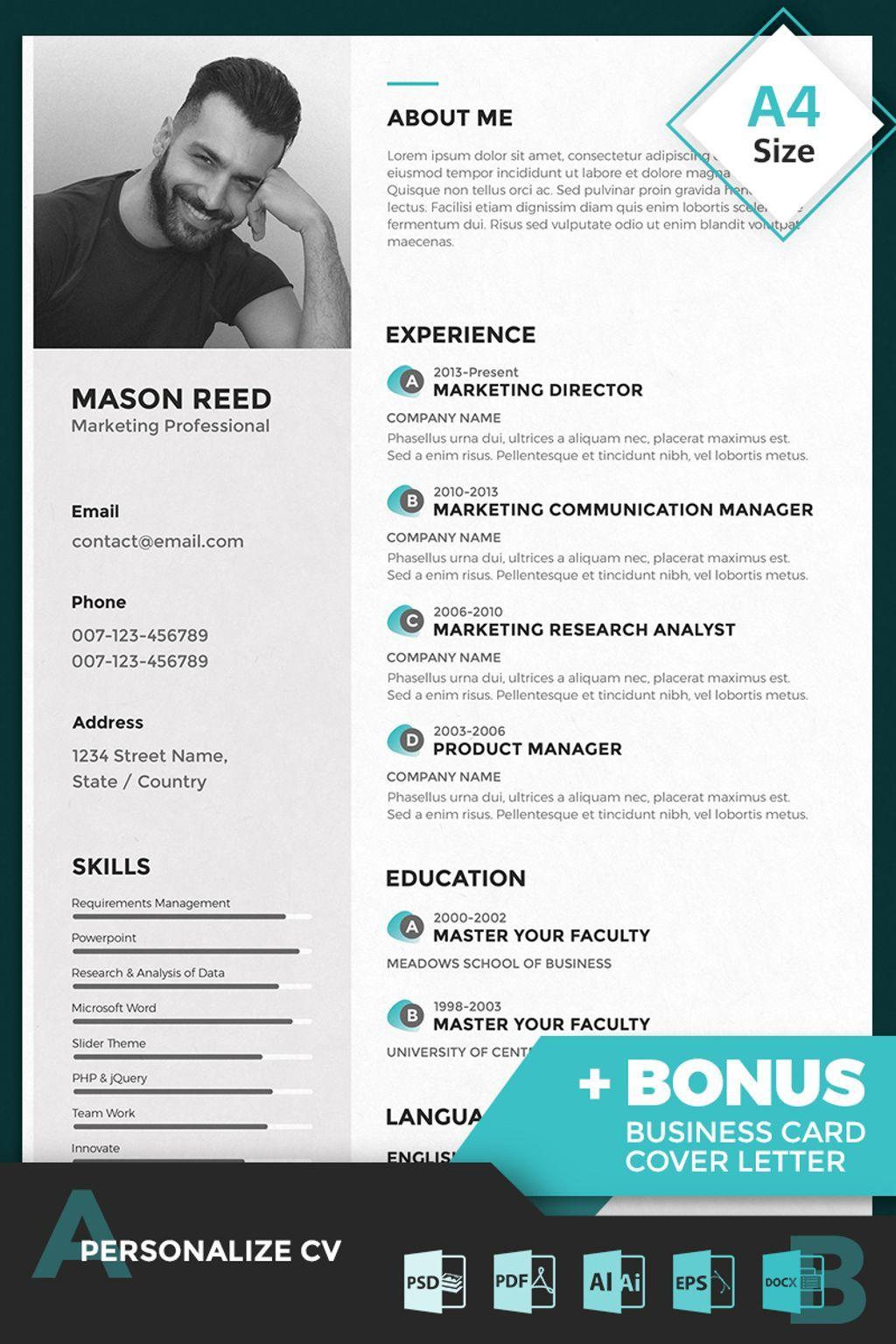 Proffesional Resume Mason Reed  Marketing Professional Resume Template  Professional .