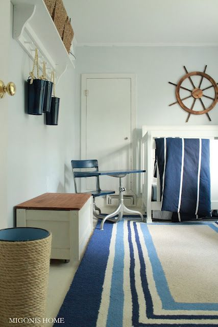 Nautical Kids Room Love The Painted Navy Pails With Rope Hangers Diy Covered Trash Can