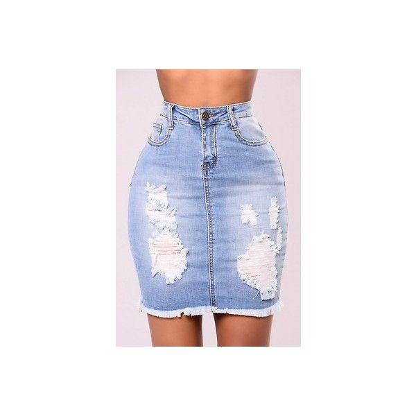 Skirts Women's Clothing Zip Skirt Mini Jeans Denim Ripped Distressed