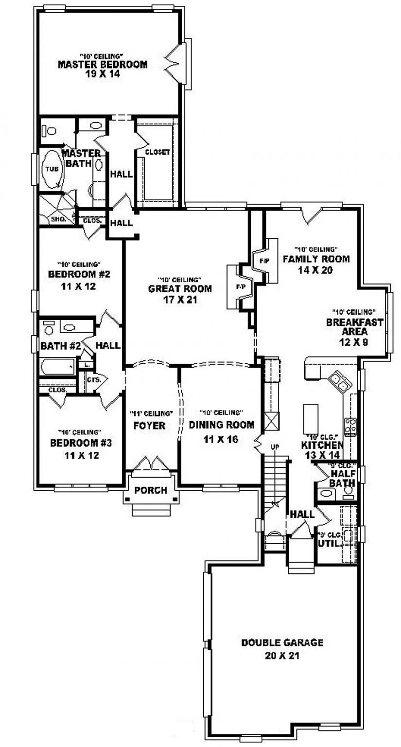 One And A Half Story 3 Bedroom, 2 Bath French Style House Plan Featuring  Two Living Areas; Fireplace I :