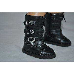 Black Buckle Boots For American Girl Doll Clothes