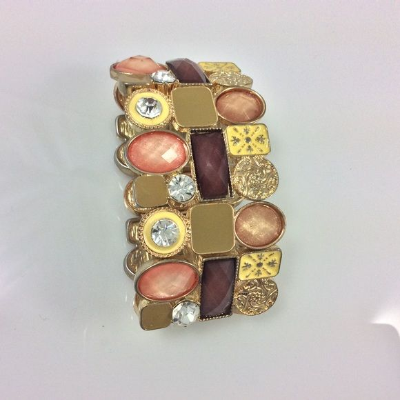 Multi-Colored Jewel-toned Stretch Bracelet Stunning shades of gold, brown & melon Jewelry Bracelets