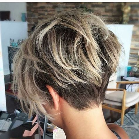 Short Hair Cuts For Women Styles Undercut Blonde Balayage Hand Painted Highlights Dark Roots Textured Cut