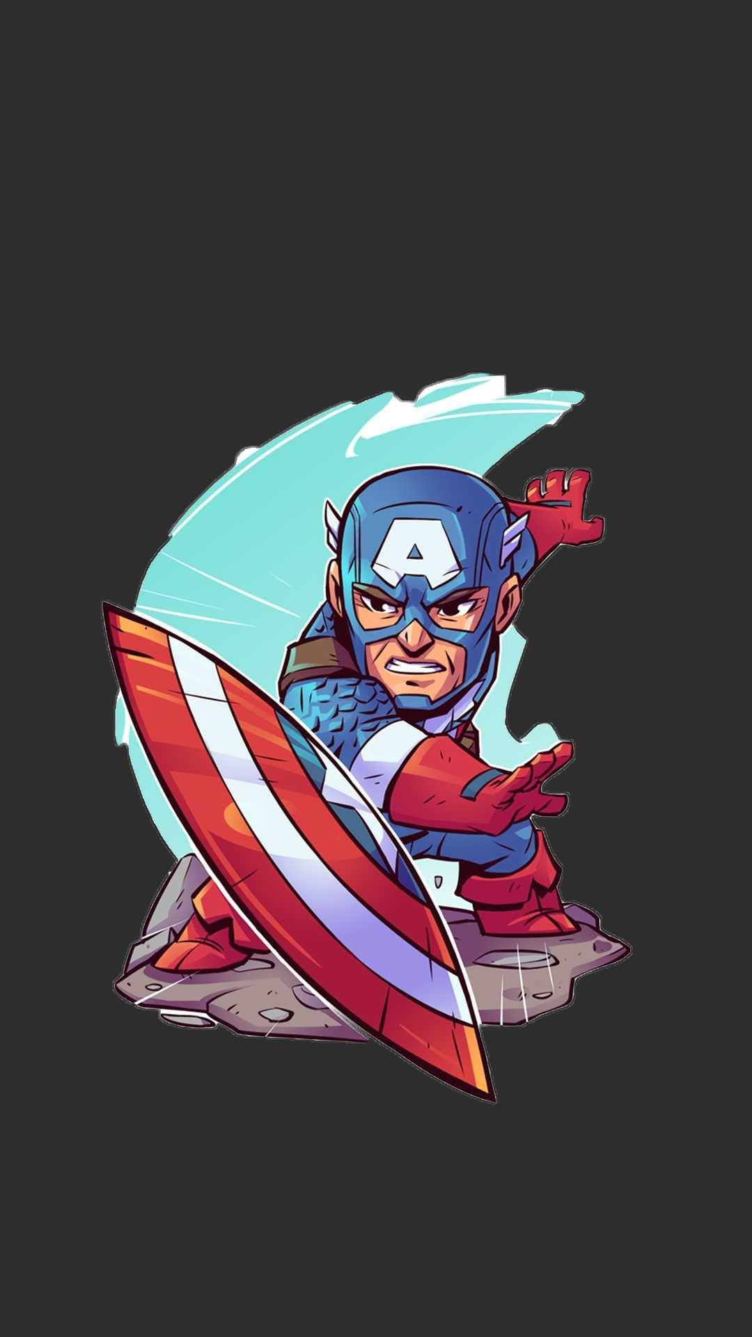 Captain America Animated Art iPhone Wallpaper Captain