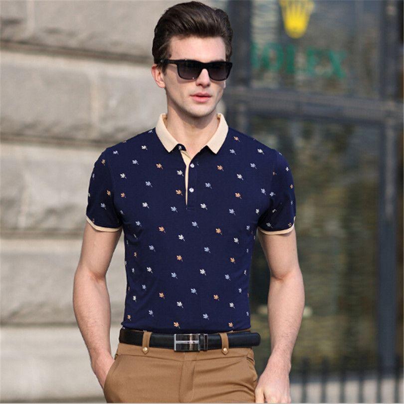 2016 Brand Leaves Printed Polo Shirt Men Fashion 100% Cotton Polo ...
