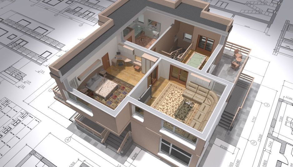 3D isometric view of the cut residential house on architect drawing