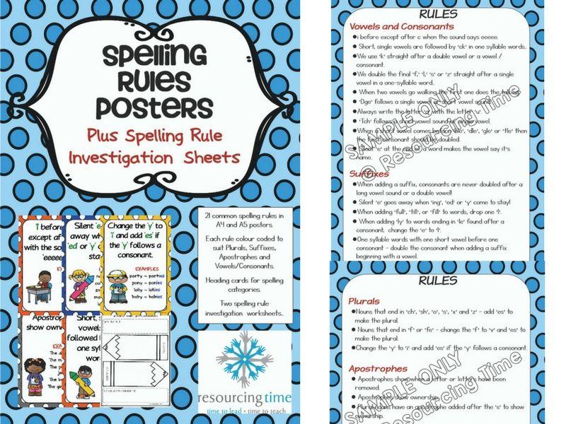 Spelling Rules Poster Pack Plus Spelling Rule